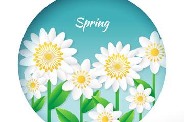 春季白色花丛设计矢量素材
