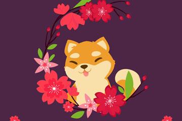 可爱樱花和狐狸矢量素材