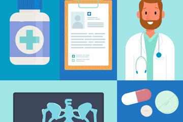 6款创意蓝色医疗元素矢量图