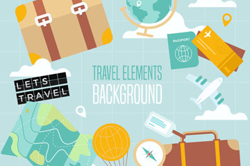 创意旅游元素组合圆环矢量素材