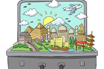 ��意行李箱里的旅游�L景矢量�D