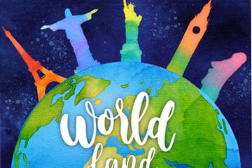 水彩绘地球和名胜矢量素材