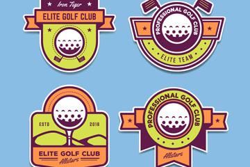 4款彩色高尔夫俱乐部徽章矢量素
