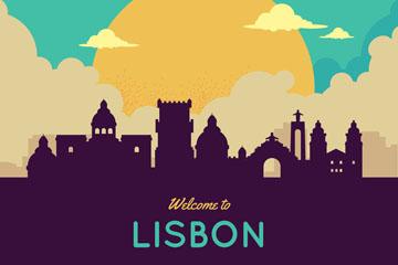创意西班牙里斯本城市剪影矢量图