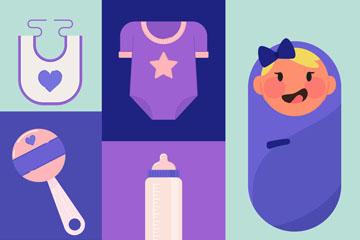 8款紫色婴儿用品设计矢量图