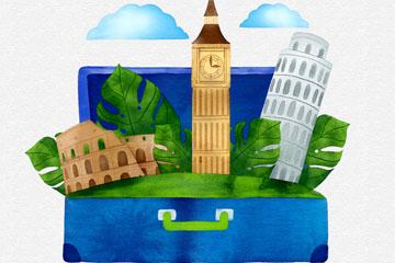水彩绘行李箱里的风景矢量图