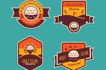 4款精致高尔夫标签矢量素材