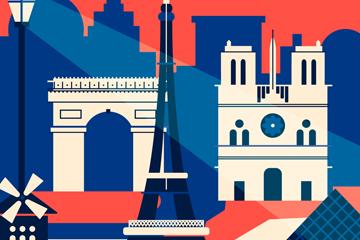 时尚巴黎都市剪影矢量素材