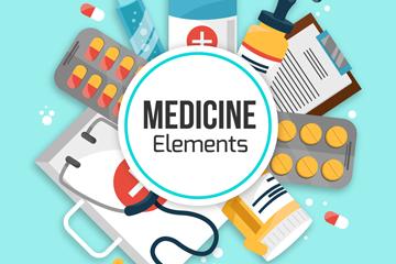 9款扁平化医疗元素矢量素材
