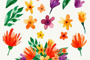 17款彩绘可爱花卉和叶子矢量图