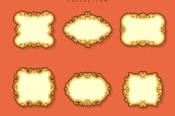 6款复古金色花边空白框架矢量素材