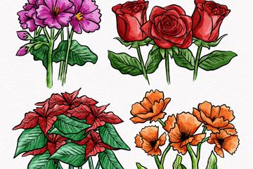 4组手绘彩色花束矢量素材