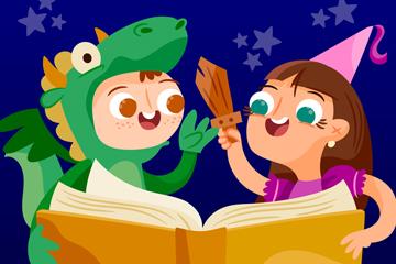 卡通世界图书日变装的2个儿童矢