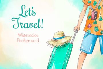 彩绘拉行李箱的旅行人物矢量图