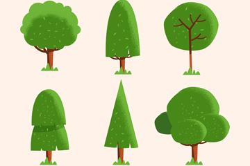6款绿色扁平化树木矢量素材