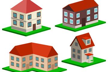 4款立体红色屋顶房屋矢量素材