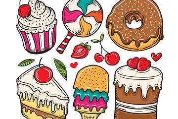6款卡通甜点设计矢量素材