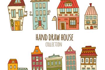 9款手绘房屋设计矢量素材