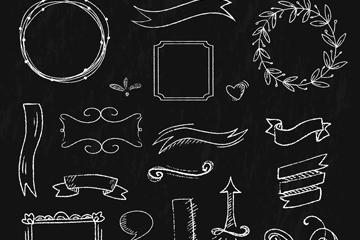 16款白色条幅和花纹黑板画矢量素