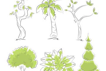 6款手绘绿色树木矢量素材