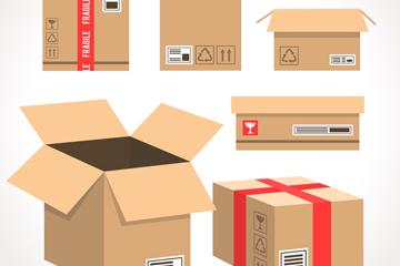 6款创意包装纸箱矢量素材