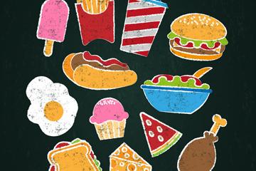 12款彩色粉笔绘快餐矢量素材