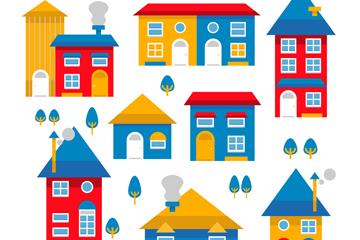 8款拼色房屋设计矢量素材