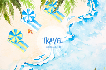 水彩绘蓝色夏季度假沙滩矢量图