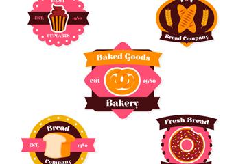 5款粉色面包公司标签矢量素材