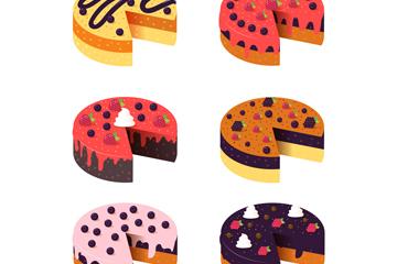 6款美味缺一角的蛋糕矢量素材