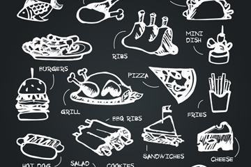 19款创意粉笔绘食物设计矢量图