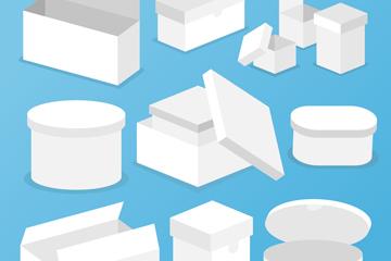 11款白色纸板箱设计矢量图