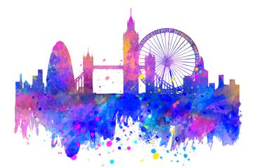 水彩绘伦敦建筑剪影矢量素材