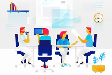 抽象办公室里的团队人物矢量图
