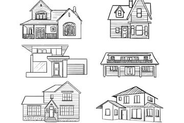 6款手绘风格住宅设计矢量图