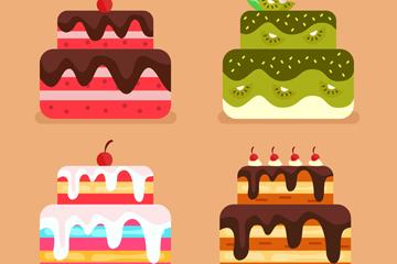 4款卡通蛋糕设计矢量素材