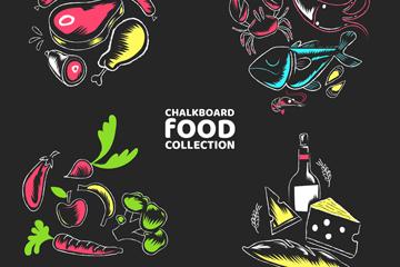 4�M彩色食物黑板��矢量素材