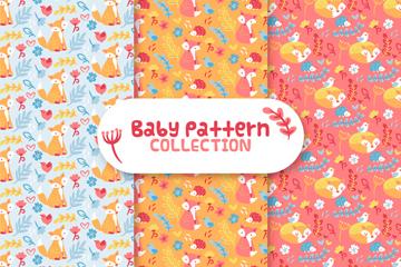 3款彩色动物婴儿无缝背景矢量图