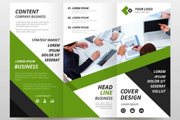 绿色三折页商务宣传单矢量图