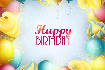 彩色气球和纸杯蛋糕生日贺卡矢量
