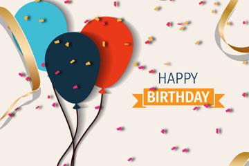 质感气球和彩色纸屑生日贺卡矢量图