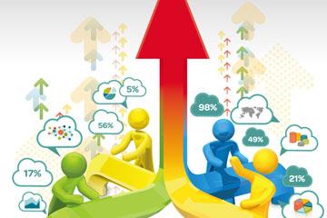 立体箭头和人物商务信息图矢量素材