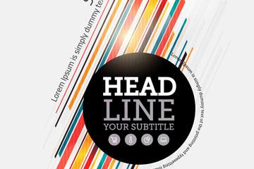彩色斜纹商务封面设计矢量素材