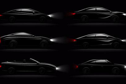 6款时尚黑色轿车设计矢量素材