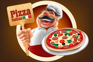 卡通端披萨的厨师矢量素材
