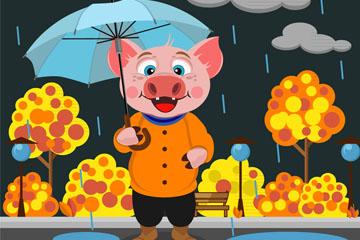 卡通雨中��愕呢i矢量素材