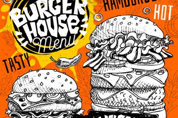 手绘汉堡包店菜单设计矢量图