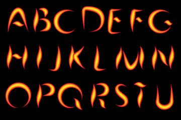 26个创意火焰大写字母矢量素材