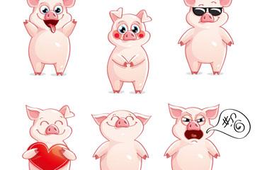 6款可爱卡通猪表情矢量图