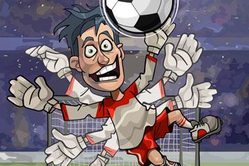 卡通忙碌的足球守门员矢量素材